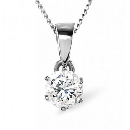 18K White Gold 0.25ct Diamond Pendant, DP01-25VSW